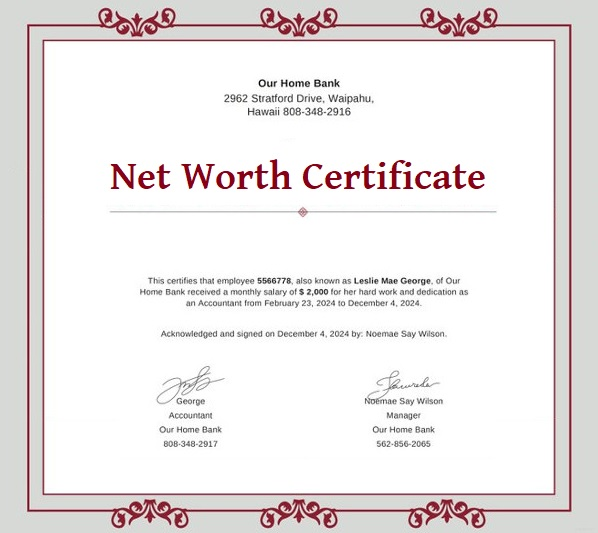 free net worth certificate format