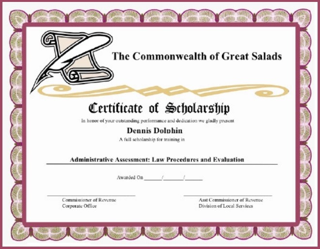 11 Scholarship Certificate Templates Free Word Pdf Samples