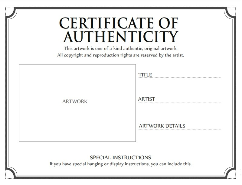 Art Certificate Of Authenticity Template from www.certificatetemplatess.org